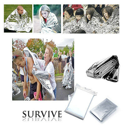 """New 5PCS Survival Emergency Blanket Thermal Rescue Space Mylar Blanket 82""""x 55"""""""