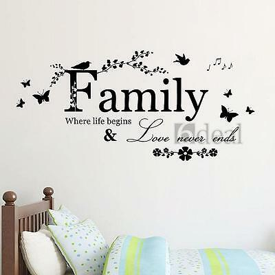 Family Bird Butterfly Wall Sticker Art Vinyl Quote Decal Mural Room Home Decor