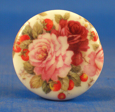 """1""""  Porcelain China  Button -- Pink And Red Roses"""