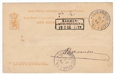 Luxembourg To Barmen Wichlinghausen 1884 Postal STationery Card