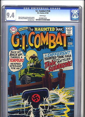 GI Combat #136, 1969 DC War comic.  CGC  9.4, Kubert cvr, white pages