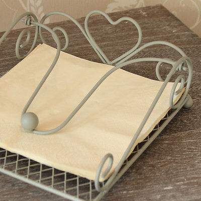 Grey Metal Heart napkin holder serviette barbecue table cafe weighted table