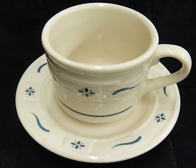 Longaberger Coffee Cup and Saucer Woven Traditions Classic Blue Excellent