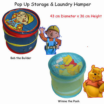 Adorable Pop Up Storage & Laundry Hamper WINNIE THE POOH, BOB THE BUILDER