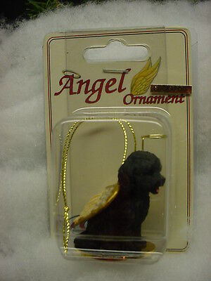 BLACK COCKAPOO dog ANGEL Ornament Resin Figurine HAND PAINTED Christmas puppy