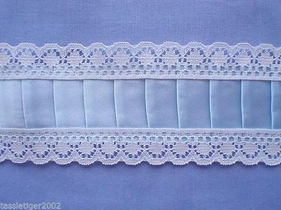 White/Blue Pleated Insertion (x 0.75 metres)