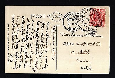 3200-TRANSVAAL-SOUTH AFRICA-OLD POSTCARD CAPE TOWN to DULUTH (usa)1911.BRITISH.