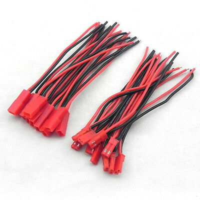 New Arrival Hot 10 Pairs 2-Pin JST Plug Connector Cable Wire Male + Female 100mm