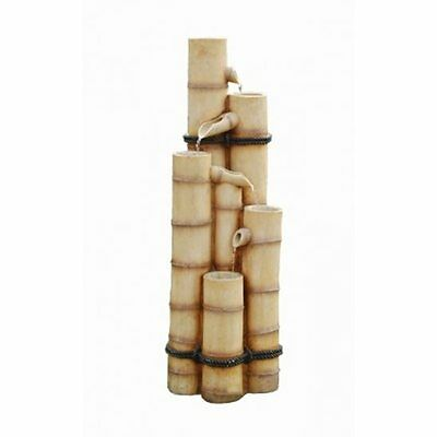 Solar Powered Oriental Bamboo Poles Water Feature with Battery Back Up