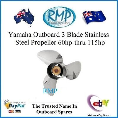 """A Brand New Stainless Steel Propeller Suits Yamaha 60hp-thru-115hp 19"""" Pitch (K)"""