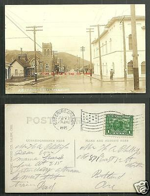 Roseburg rppc Eastlane Street Church Oregon stamp 1915