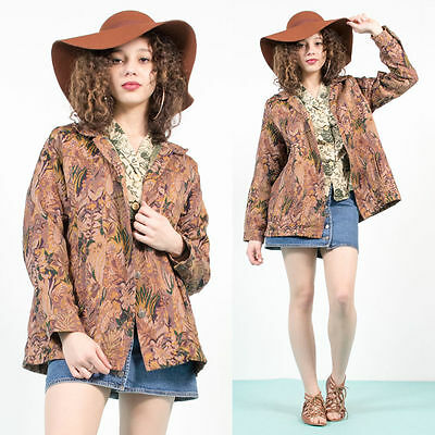 Womens Vintage Floral Tapestry Patterned 70's Style Blazer Jacket Festival 16
