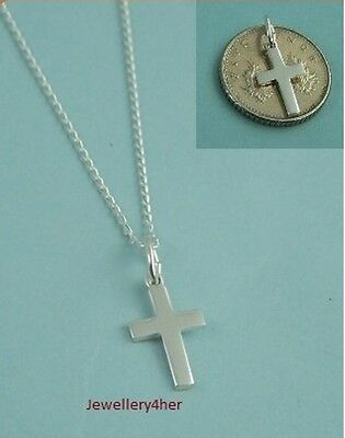 """Kids Child 925 Solid Silver SMALL PLAIN CROSS PENDANT 16"""" Chain Necklace SET NEW"""