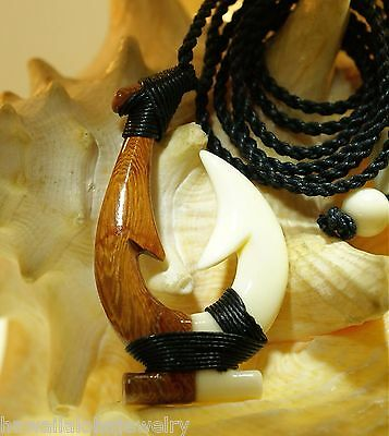 32mm Hawaiian Composite Genuine Rosewood Buffalo Bone Makau Fish Hook Necklace