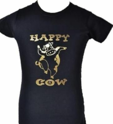 HAPPY COW ADULT BLACK T-SHIRT with GOLD GLITTER S-XXL