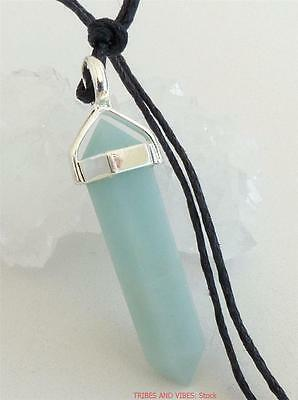AMAZONITE Point Pendant Crystal Gem SP NECKLACE or CORD healing heart chakra