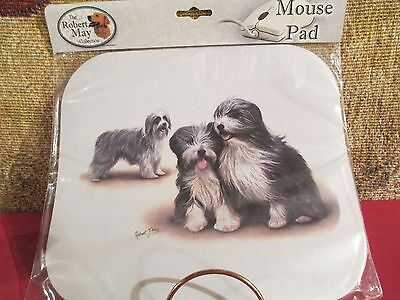 BEARDED COLLIE FAMILY   ~ MOUSE PAD by  ROBERT MAY