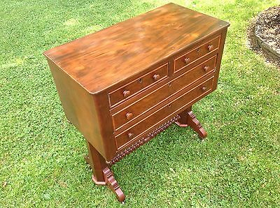 Rare & Unusual Antique American Empire Mahogany Silver Chest Classical Federal