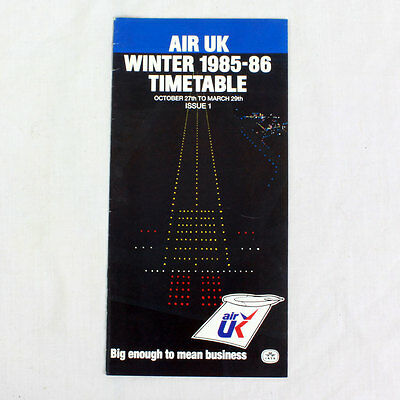 Air UK Airways - Airline Timetable - Winter 1985 to 1986