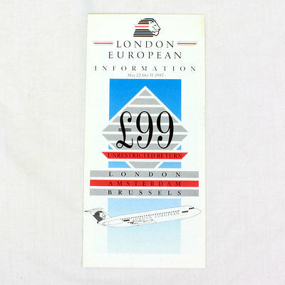 London European Airways - Airline Timetable - May 22 To Oct 31 1987