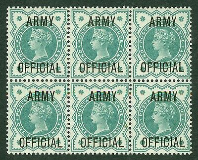 SG 042 ½d blue green Army official. A pristine unmounted mint block of 6 CAT £60