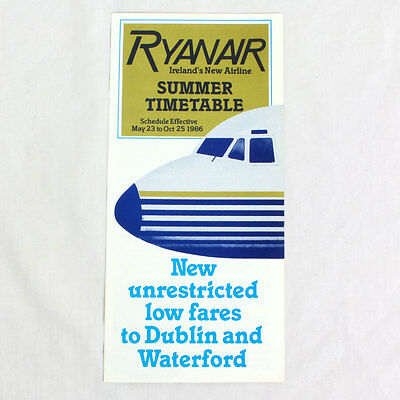 Ryanair Airways - Airline Timetable - Summer - May 23 to Oct 25 1986