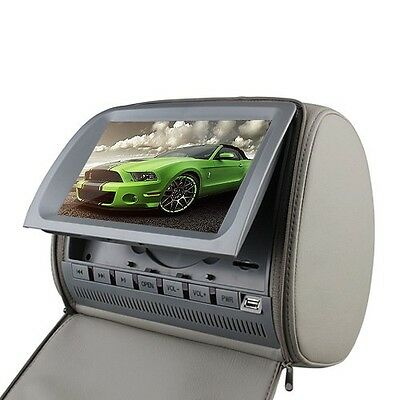 "Deluxe Dual Screen 9"" LCD In Car Pillow Headrest DVD Player Monitor W/ Headphone"