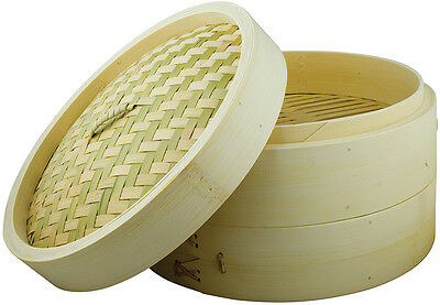 Swift Spice Chinese Bamboo Two Tier Steamer And Lid