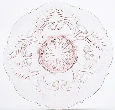 Rose Pink Glass Inverted Thistle Pattern Large Round Egg Plate - Mosser