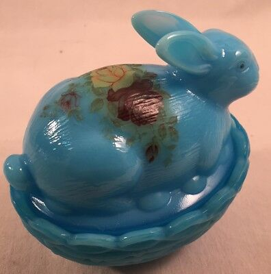 Mosser Glass Bonnie Blue w/Handpainted Rose Covered Bunny Dish