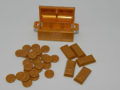 Lego Lot of All  Pearl Gold Treasure Chest With 25 Gold Coins & 5 Gold Bars