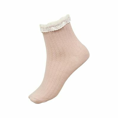 1 Pair Rock & Rags Ladies Socks Firetrap Rose Smoke Cream Frill 3-7 Cotton Mix