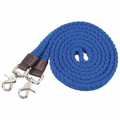 Western Horse Flat Blue Cotton Roping Reins For Contest Or Rodeo, Barrel Racing