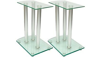 NEW Set of 2 Transparent Safety Glass Aluminum Speaker Stands High Quality