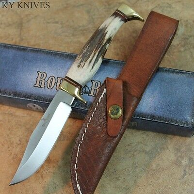 """7.25"""" Rough Rider Genuine Stag Handle Hunting Knife W/ Leather Sheath RR1432 zix"""