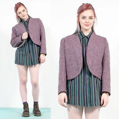 Womens Vintage Purple Tweed Cropped Blazer Jacket Boucle Style Smart 16