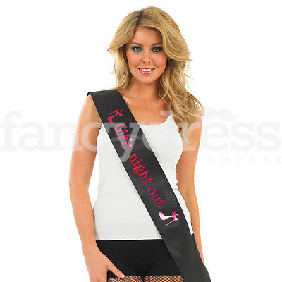 Adult Black Pink Girls Night Out Happy Birthday Sash Hen Party Ladies Gift NEW