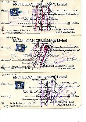 3 Old bank cheques checks tax stamp 1949 McCulloch Creelman Truro NS July 16