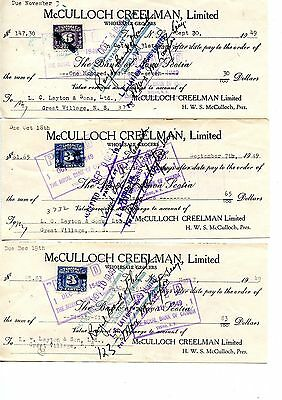 3 Old bank cheques checks tax stamp 1949 McCulloch Creelman Truro NS Sept 30