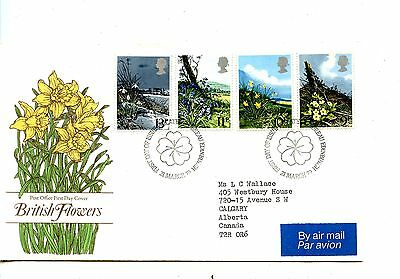 Old First Day Cover stamps FDC Great Britain British Flowers 21 March 1979