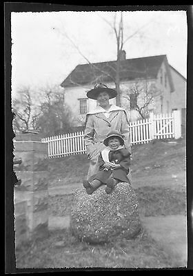 Old b/w photo slide Young woman and little girl Fall cute hat long coats