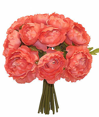Coral Reef Salmon  RANUNCULUS Bouquet Silk Wedding Flowers Centerpieces Decor