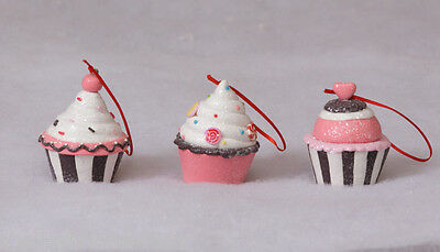 Christmas Candy Cupcake Ornaments in Pink and Brown set of 3 NEW 7D3817