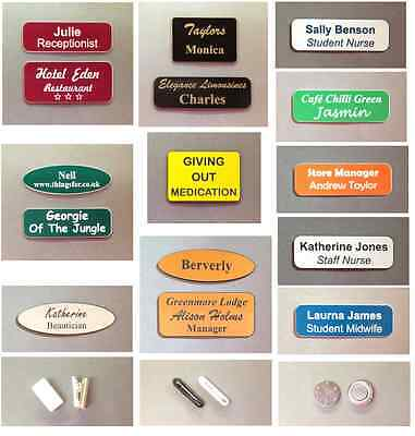 Business & personal personalised name badges, acrylic, Magnetic, pin, clip