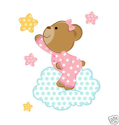 Pink Teddy Bear Wall Mural Decals Cloud Stars Baby Girl Nursery Art Stickers