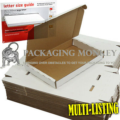 Maximum Size ROYAL MAIL LARGE LETTER 350x250x24mm WHITE Cardboard Postal Boxes