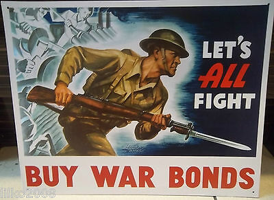 Us Army- Buy War Bonds , Metal Wall Sign 40X30 Cm Soldier,ww2, Let's All Fight