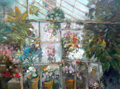 Central New York Greenhouse Original Oil on canvas 18x24 in. Hall Groat Sr.