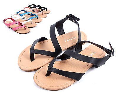 e1c510d38 Black Cute Slip On Kids Strappy Summer Sandals Girls Flat Youth Shoes Size 9