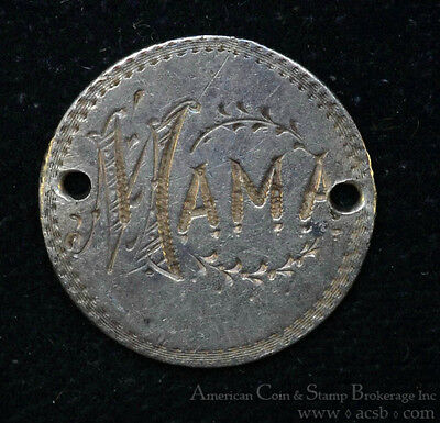 1884 Love Token Engraved MAMA Liberty Seated Dime Silver Necklace Ready.